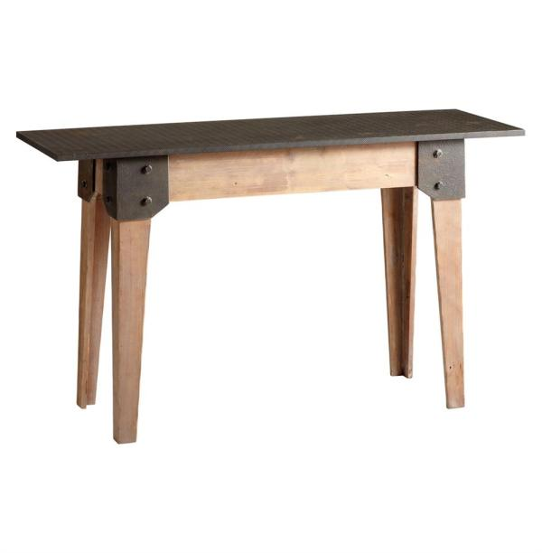 Rustic Raw Wood Console Table