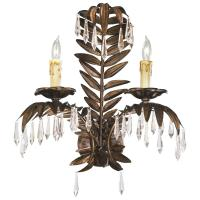 Antique Brass Palm Frond Crystal Two Light Wall Sconce ...