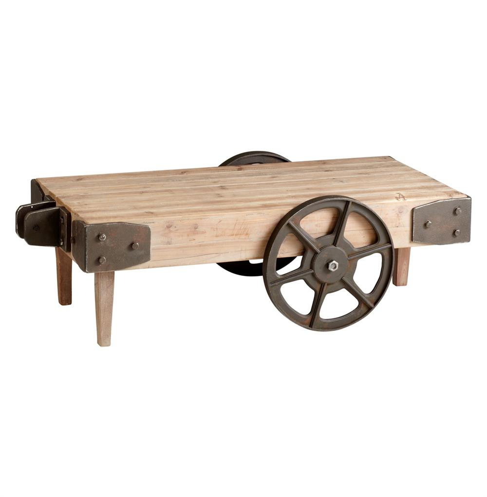 Wilcox Industrial Rustic Wagon Cart Coffee Table