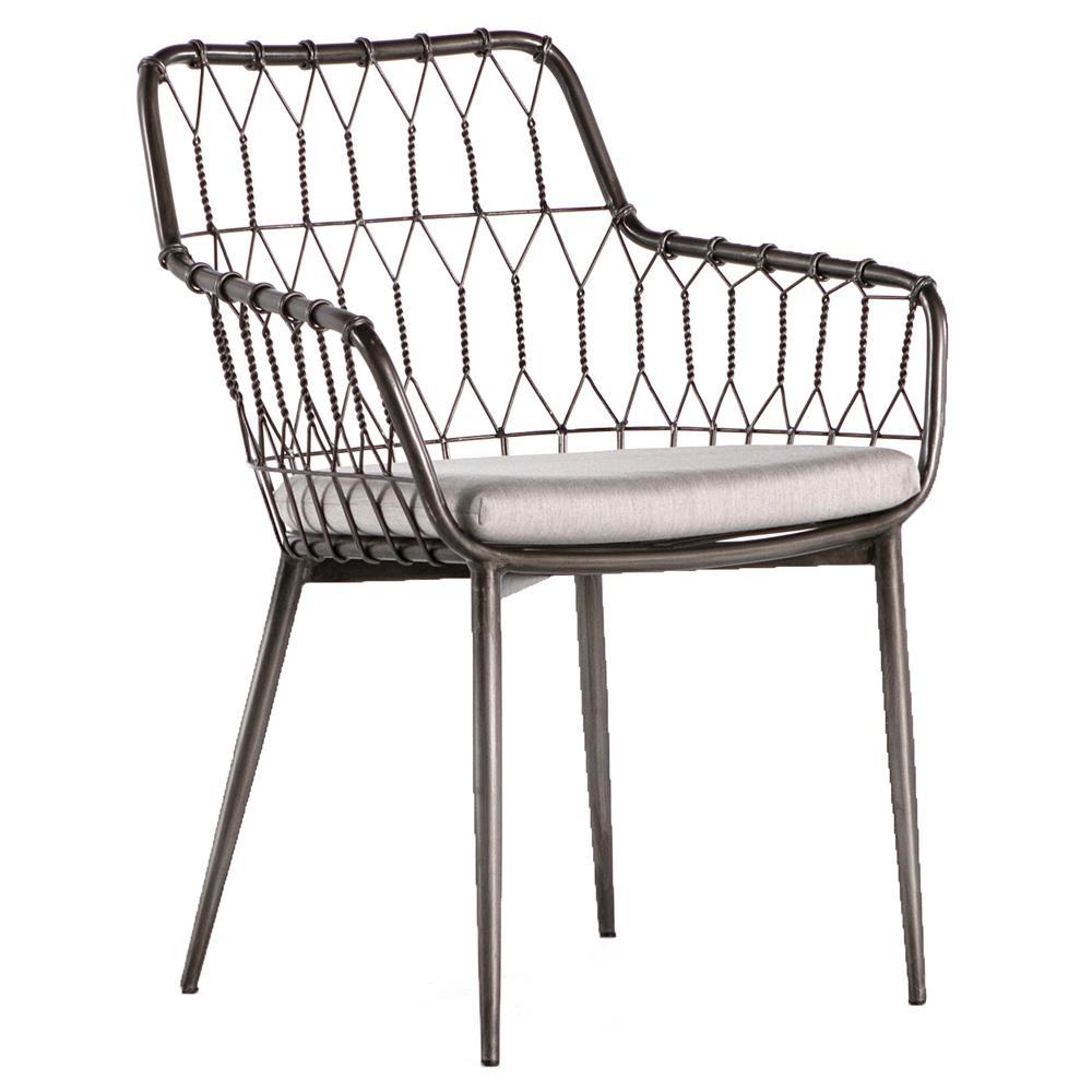 Albin Hairpin Iron Rattan Outdoor Dining Chair  Kathy Kuo