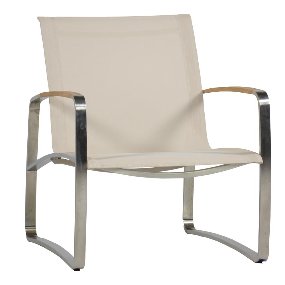 steel lounge chair with speakers and fridge summer classics delray beige sling teak outdoor kathy kuo home