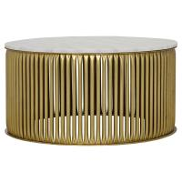 Opher Round Brass White Stone Coffee Table | Kathy Kuo Home