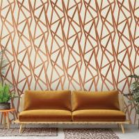 Bronze Metallic Geometric Removable Wallpaper | Kathy Kuo Home