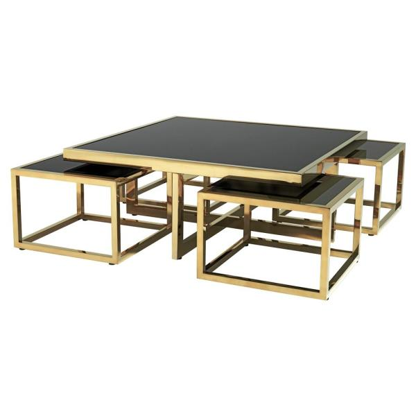 Black Glass Square Coffee Table