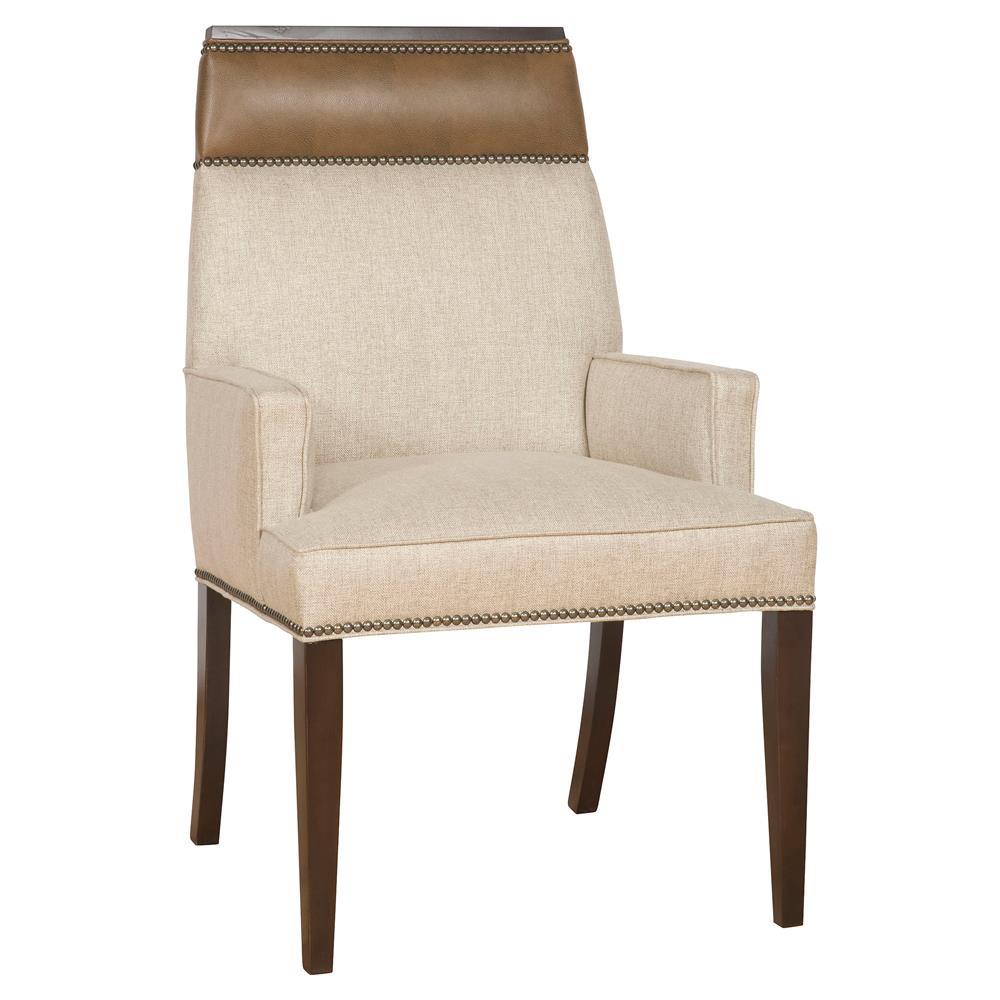 Peony Modern Classic Wood Linen Upholstered Nailhead