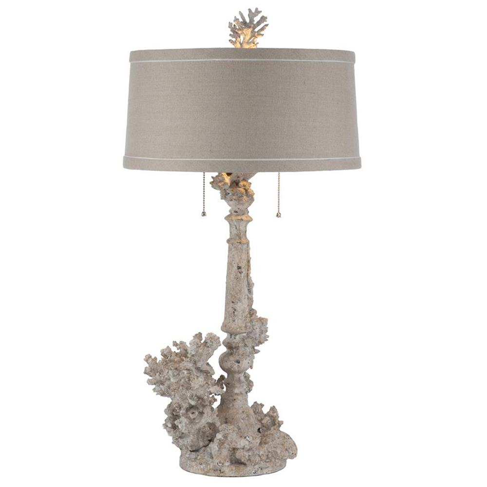 Pair Rustic Chic Coral French Country Table Lamp