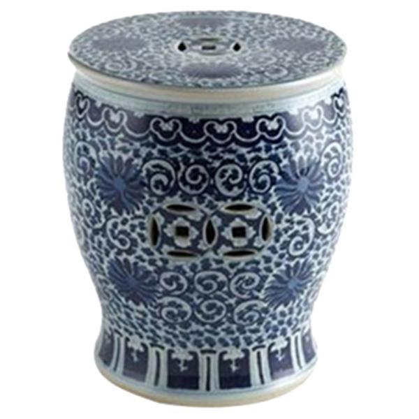 Matt Global Bazaar Blue White Twisted Lotus Drum Outdoor