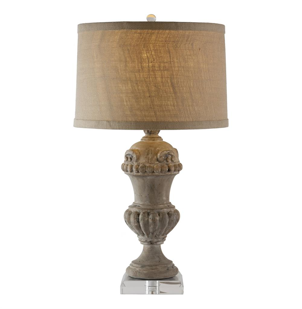 Brussels Carved Wood Urn French Country Table Lamp
