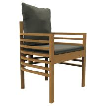 Joy Modern Sunbrella Upholstered Teak Outdoor Dining Arm Chair