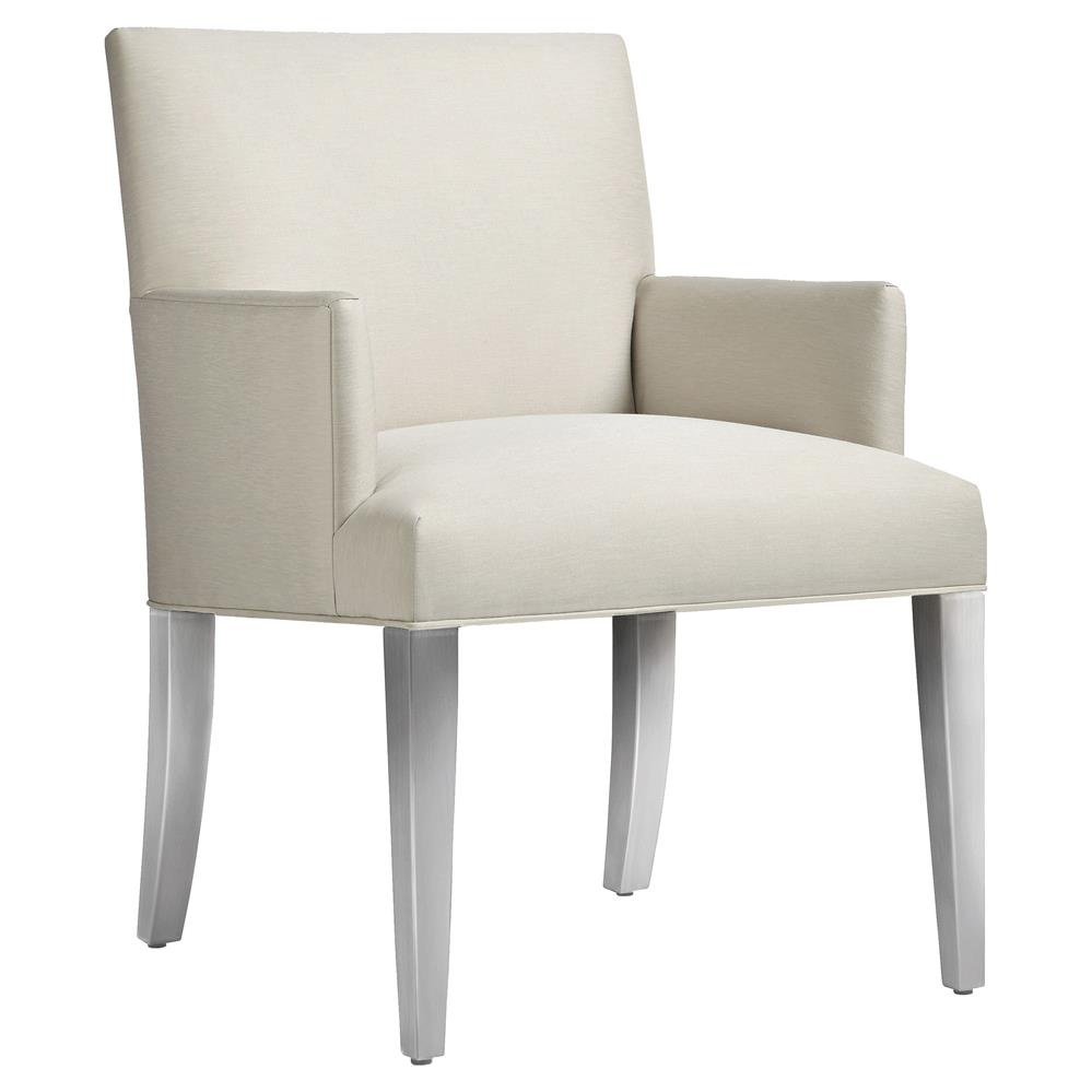 Iris Modern Beige Upholstered Silver Outdoor Dining Arm Chair