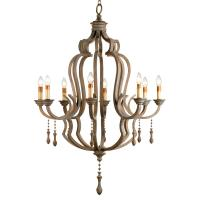 Normandy Large French Wood 8 Light Washed Grey Chandelier ...