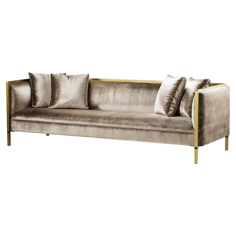 metal frame sofa bed white and loveseat slipcover sets andrew martin reagan modern classic upholstered wood gold kathy kuo home