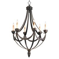 Black Wrought Iron Regency 6 Light Bronze Gold Chandelier