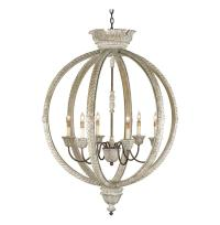 Posay Ornate White Wash Gustavian 6 Light Round Ceiling ...