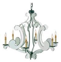 Mirrored Modern Baroque Hollywood 6 Light Chandelier ...