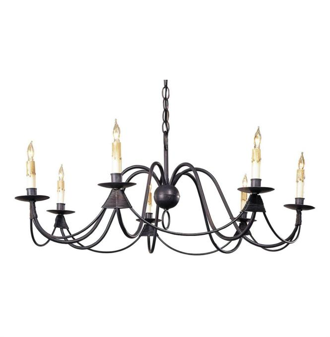 Ruther Nouveau Black Iron Low Profile 7 Light Chandelier Kathy Kuo Home