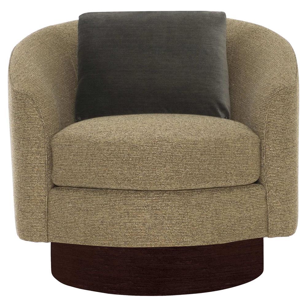 Dulce Modern Classic Brown Upholstered Dark Wood Swivel