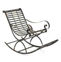 Vintage Reproduction French Art Nouveau Metal Rocking Chair
