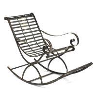 Vintage Reproduction French Art Nouveau Metal Rocking Chair
