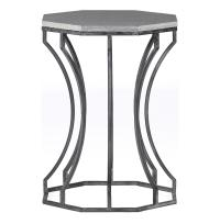 Audrey Modern Gray Stone Sculptural Iron Side Table ...
