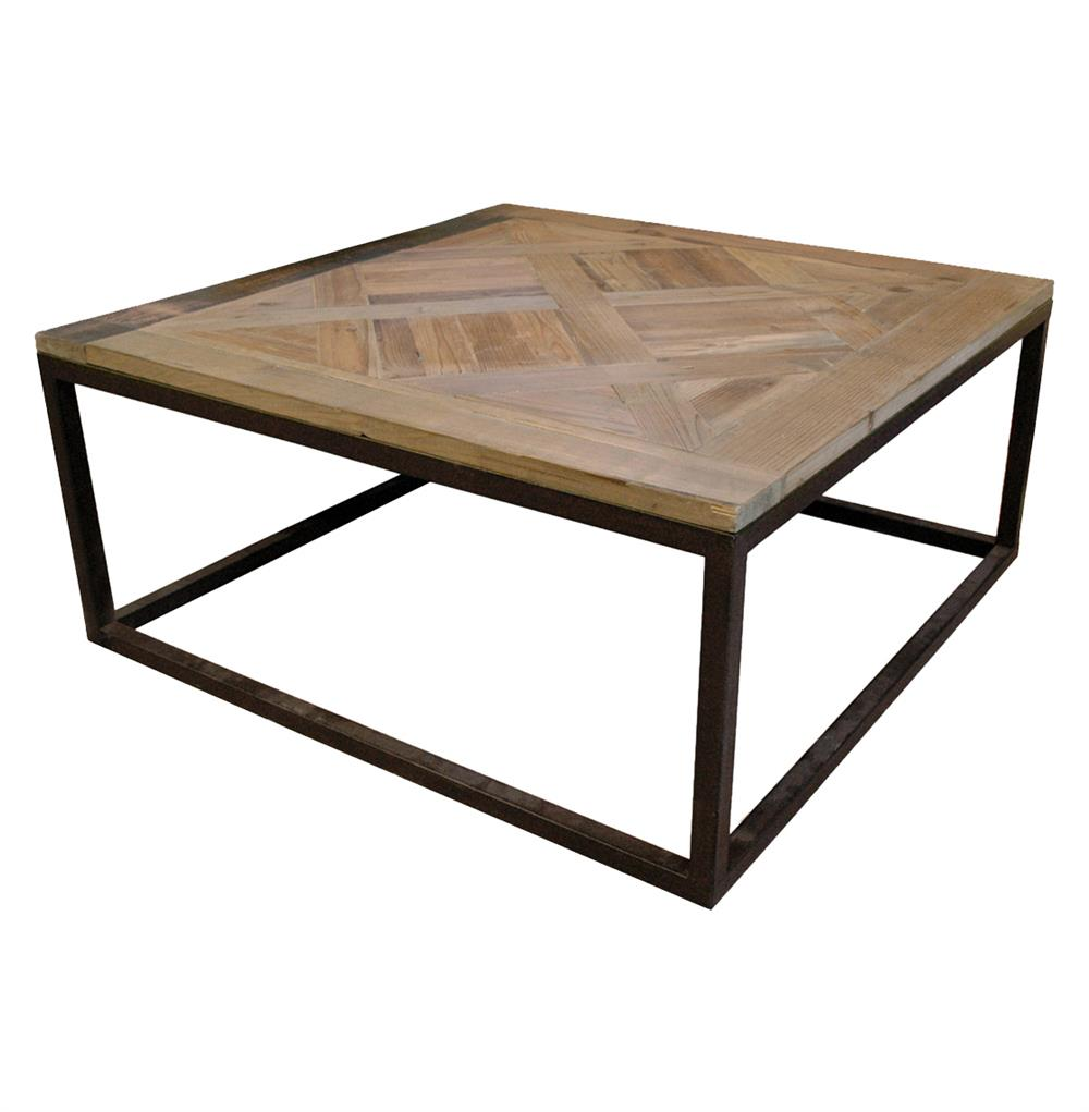 Gramercy Modern Rustic Reclaimed Parquet Wood Iron Coffee