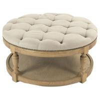 Talia French Country Natural Oak Linen Tufted Nailhead ...