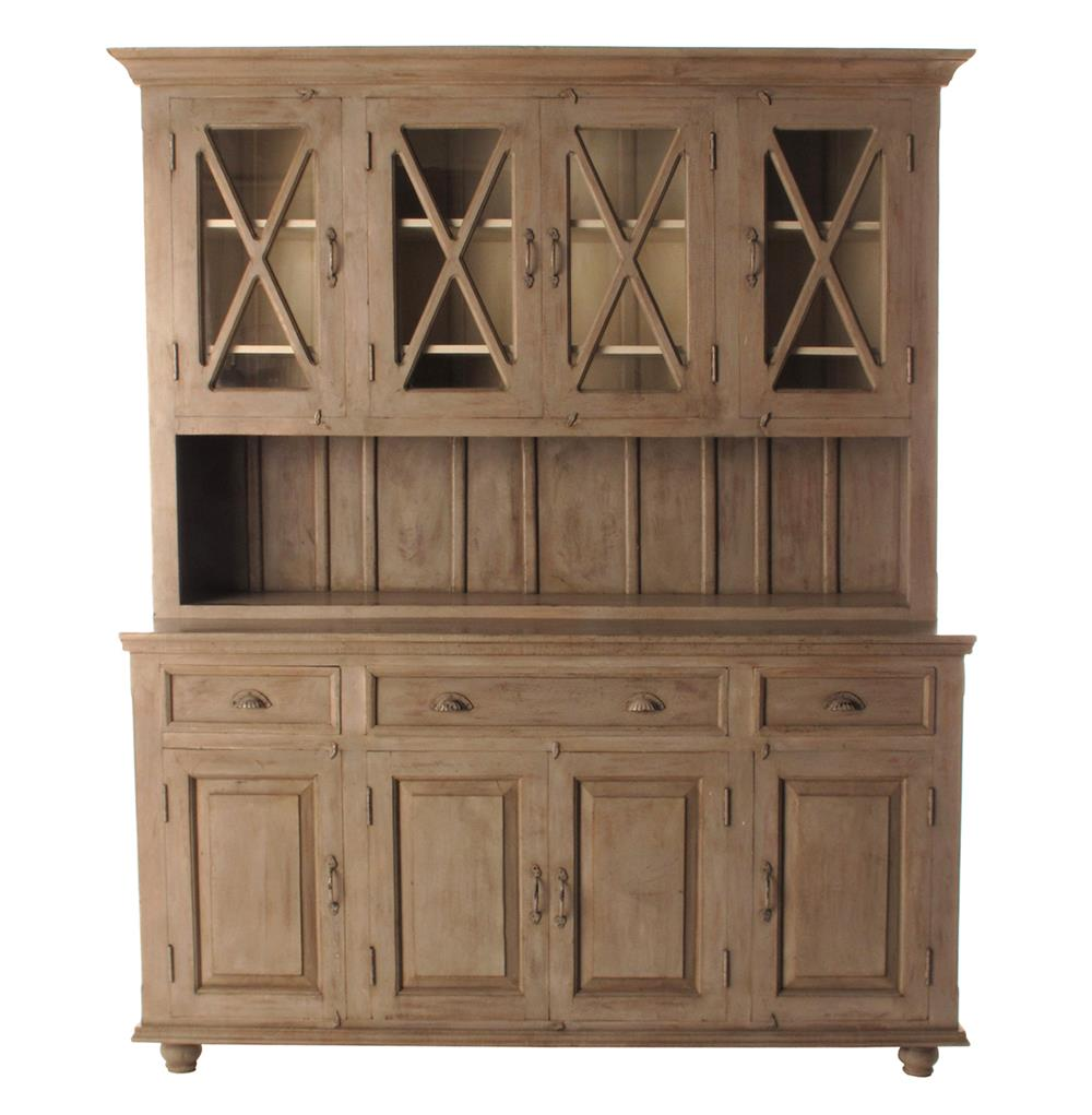 French Country Plantation 4 Door Hutch Cabinet