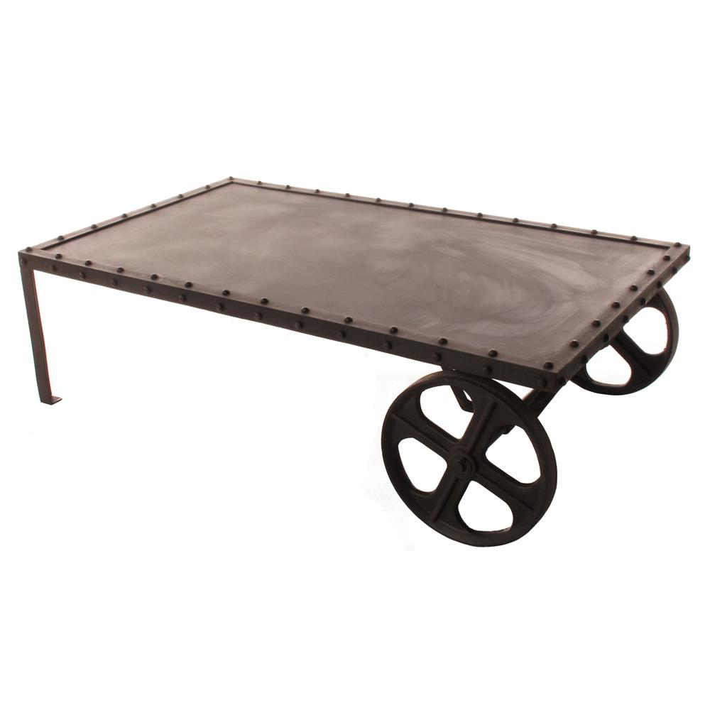 Vintage Industrial Iron Transfer Cart Coffee Table