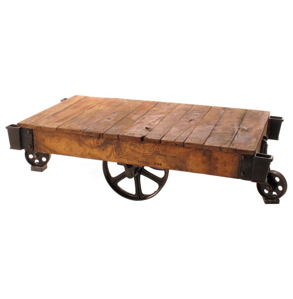 Industrial Loft Reclaimed Railroad Cart Coffee Tables