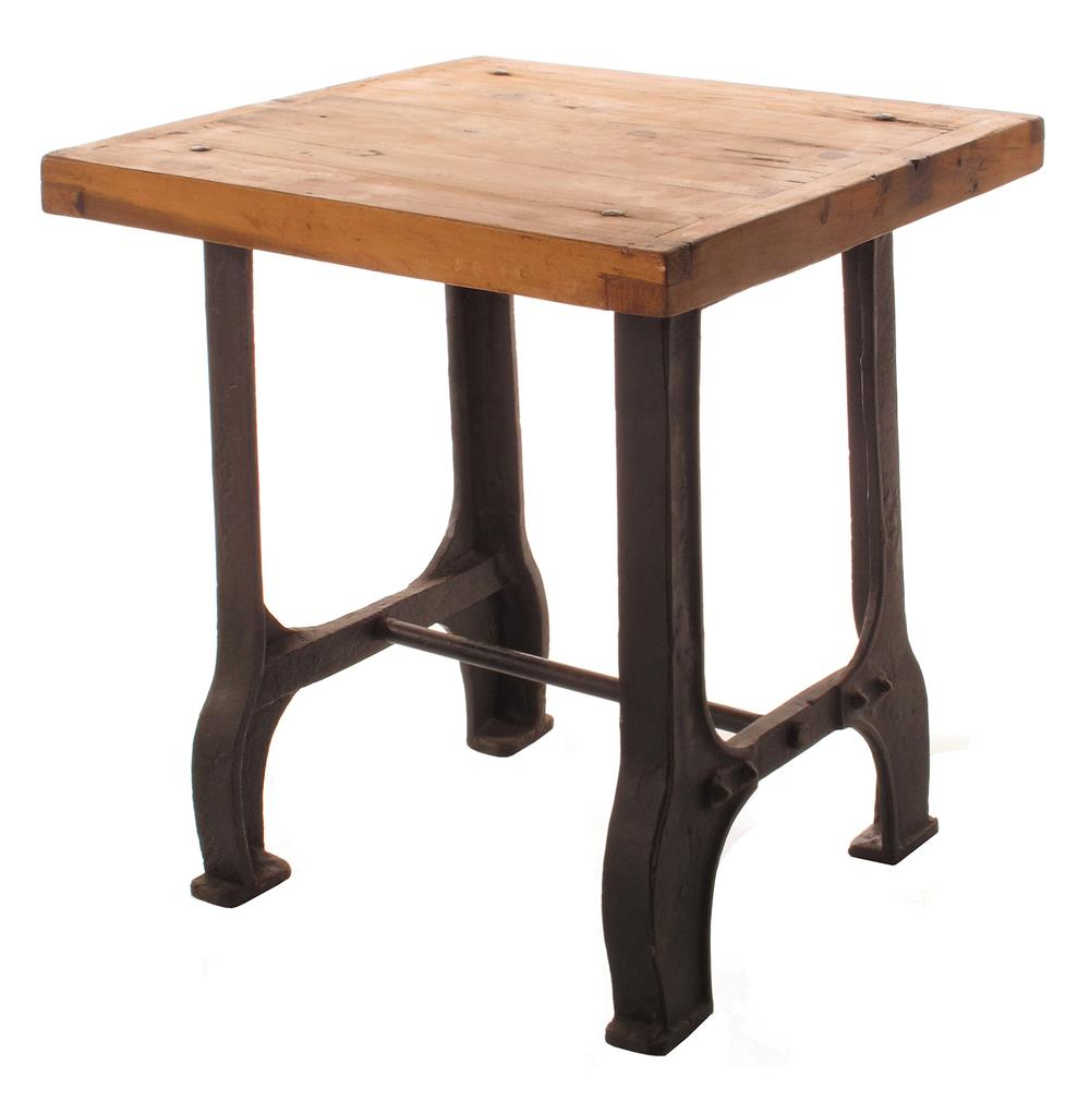Foundry Reclaimed Wood Cast Iron Base End Table  Kathy