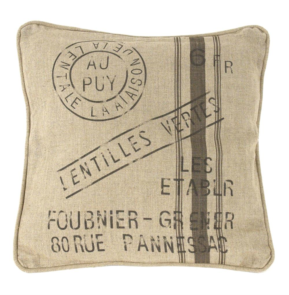 French Country Farm Stand Lentilles Vertes Throw Pillow