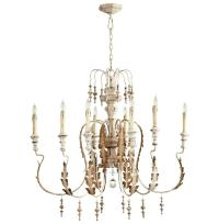 Marion French Country White Washed 8 Light Chandelier ...