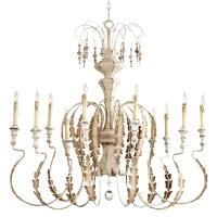 Marion French Country White Washed 10 Light Chandelier ...