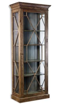 Cielo French Gray Modern Rustic Display Curio Cabinet ...