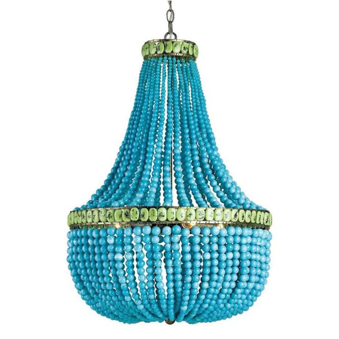 Turquoise Blue Beaded Coastal Beach 3 Light Chandelier Kathy Kuo Home