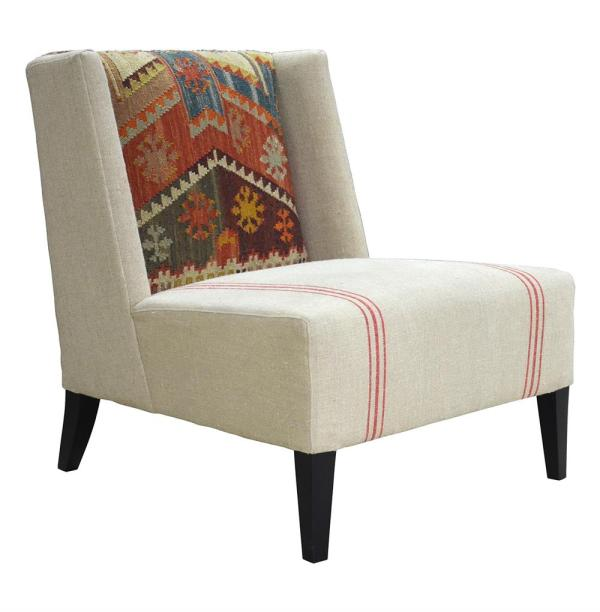 Chenla Modern Rustic Kilim Red Stripe Cream Accent Chair