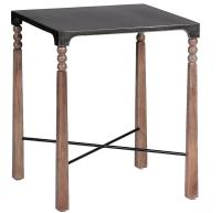 Andrew Ceruse Oak Black Metal Bobbin Side End Table ...