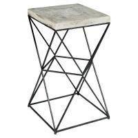 Ridge Industrial Loft Black Metal Concrete End Table ...
