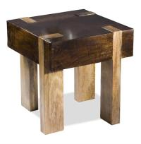 Berkeley Solid Chunky Wood Contemporary End Side Table ...