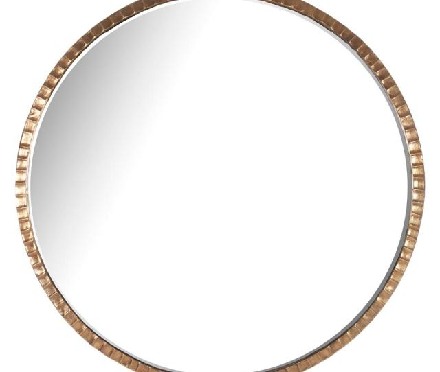 Yorkville Hollywood Regency Large Thin Round Wall Mirror 40d Kathy Kuo Home