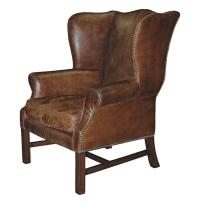 Gaston Rustic Lodge Aged Leather Wingback Library Accent ...
