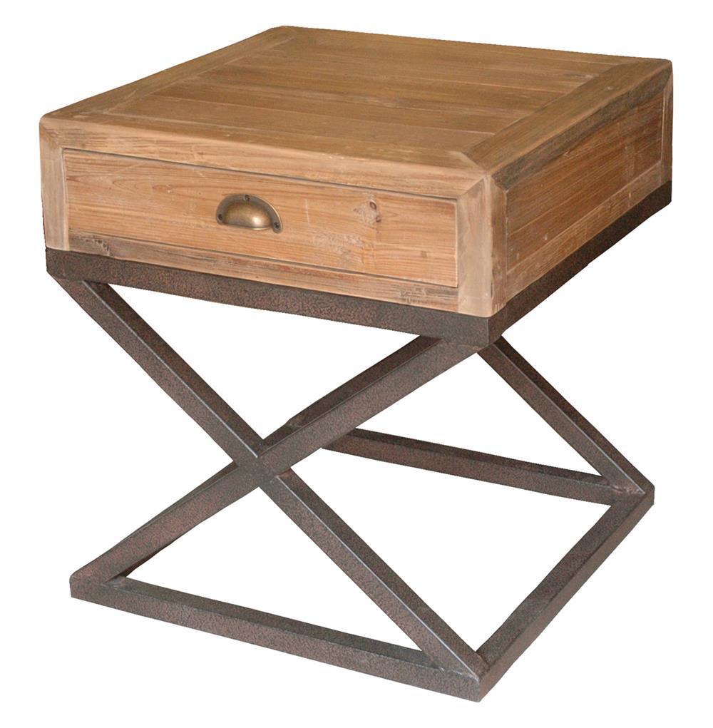 s product detail hansen industrial loft reclaimed wood chest metal base nightstand