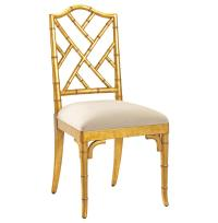 Chinese Chippendale Hollywood Regency Gold Bamboo Dining ...
