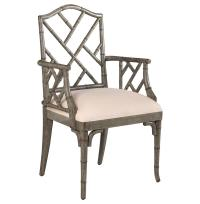 Chinese Chippendale Hollywood Regency Grey Bamboo Dining