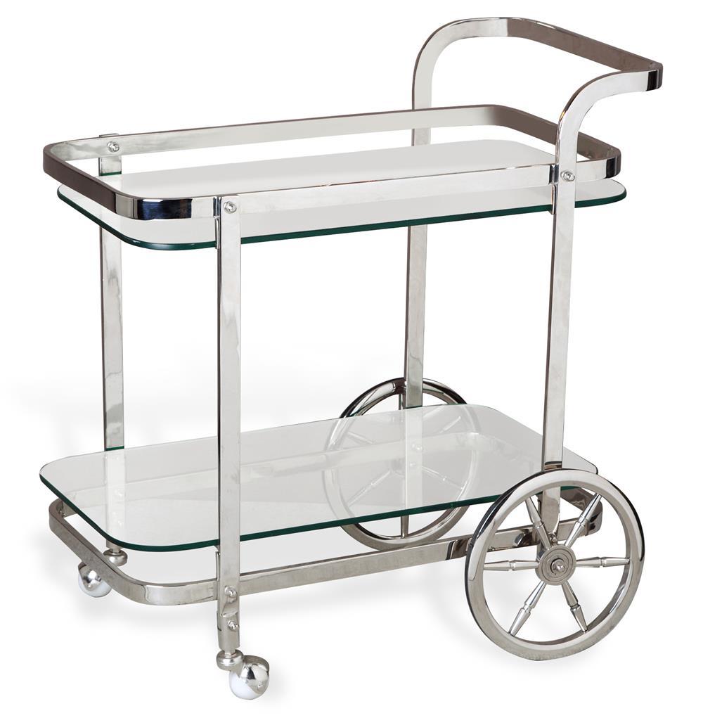 Viggo Hollywood Regency Rolling Silver Bar Cart