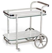 Viggo Hollywood Regency Rolling Silver Bar Cart