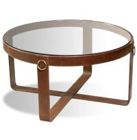 Jameson Modern Rustic Lodge Round Leather Coffee Table ...