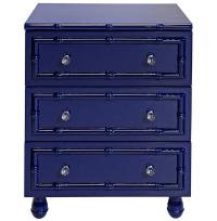 Timber Global Bazaar Navy Blue Lacquer Bamboo Nightstand ...