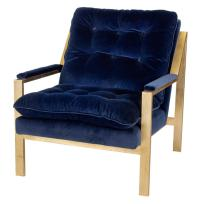 Cumulus Hollywood Regency Navy Blue Velvet Gold Arm Chair ...