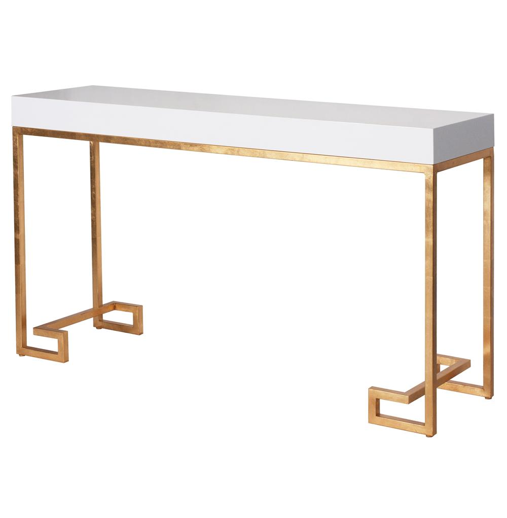 sofa table size leather conditioner for white davinci hollywood regency lacquer gold console kathy kuo home